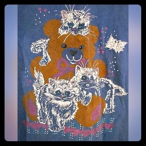 Vintage 1990s Cat and Teddy Bear T